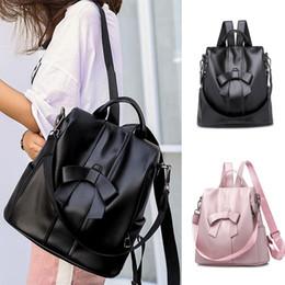 mochila de bowknot Rebajas Nuevas mujeres de la moda Mochila Mochila Bowknot Suave Cremallera de cuero antirrobo Bolsos de hombro de alta capacidad de viaje