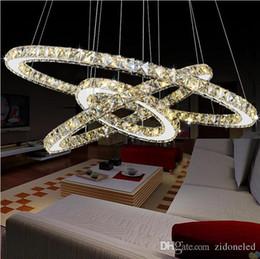 2019 douille de lampe à suspension LED moderne K9 lustres en cristal Cercle Anneaux pendentif en cristal clair pour la salle à manger Salon Romm Dedroom