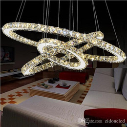 lampadario multicolore Sconti Lampadari di cristallo Circle Anelli luce moderna del pendente K9 Crystal LED per Living Romm Dining Room dedroom