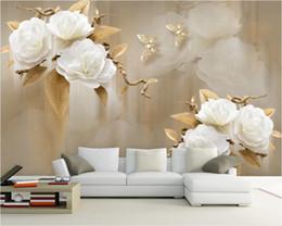 Elegantes wohnzimmer tapete online-Beibehang Kundenspezifische Tapete 3D-TV Hintergrund Wand Malstil braun elegant Rosen Hintergrund Raum Schlafzimmer 3D Wallpaper leben