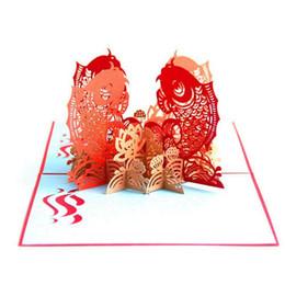 El Multi-color Koi Fish 3D Pop-up Tarjeta de Felicitación Tarjeta Postal Sobres a juego Feliz Año Nuevo Feliz Cumpleaños Tarjeta Postal Primavera desde fabricantes