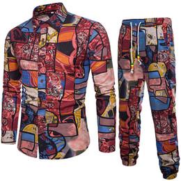 chemises bohème hommes Promotion Hommes Set Printemps 2019 Casual Chemise À Manches Longues D'affaires Slim Fit Bohemian Shirt Hommes Imprimer Blouse Top + Pantalon Costume