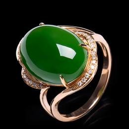 2019 jade rose ringe Mode Rose Gold Farbe Hochzeit Ring Klassische Luxus Echt Solide Schmuck Ringe Engagement Für Frauen Grüne jade ring rabatt jade rose ringe