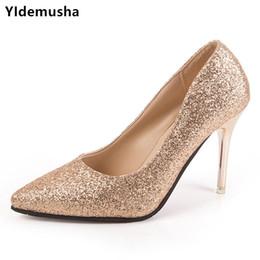 29742d2e6 Dress Shoes 2019 New Women Pumps Bling High Heel Women Glitter Extrem High  Heels Sexy Woman Wedding Gold Ladies