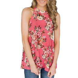 Chaleco halter largo online-Womens Vintage Floral Print Hollow Out Backless Chaleco suelto Cuello alto Halter Largo túnica Tank Tops Nuevo 2019