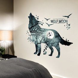 Adesivos de parede lobos on-line-oon wall sticker [SHIJUEHEZI] Creative Cool Wolf Wall Stickers DIY Animal Mural Decals for House Kids Rooms Baby Bedroom Living Room Deco...