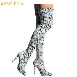 Стильные ботинки онлайн-Эмма Кинг Стильный Доллар Печати Женщины Зимние Сапоги За Колено Бедро Высокие Сапоги Высокие Каблуки Острым Носом Молнии Party Club