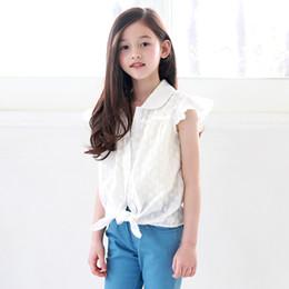 crianças frescas Desconto Novo 2019 Meninas T-shirt Simples Verão Novo Fresco Camisa Branca bordado floral muito bonito crianças blusas camisa de algodão, # 5177