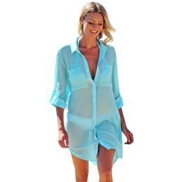 Canada Casual femmes manches longues en maille bikini couvrir jusqu'à plage écran solaire t-shirt blouse globale élégant jolies dames mélange de coton Offre