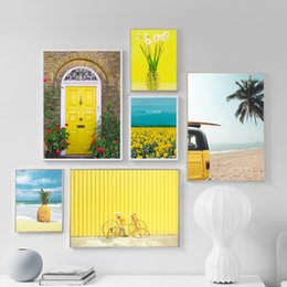 Stampe di girasole stampa online-Girasole Coconut Beach Bus Bicicletta Wall Art Canvas Painting Nordic Canvas Poster e stampe Picture Wall per Living Decor