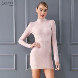 Adyce 2018 New Women Summer Bodycon Bandage Dress Apricot Long Sleeve Mini  Dress Vestidos Clubwear Celebrity Evening Party Dress 110c842b9