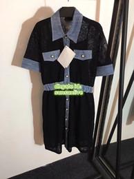 knielänge jeanshemd kleid Rabatt Frauen Marke Shirt Empire Kleider Stricken Nähen Denim Die High-End-Custom Shirt Kleid Knielangen Lässige Marke Knit Runway Kleid 2019