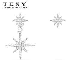 orecchini di diamanti rubino Sconti TENY 100% argento sterling S925 alta qualità OriginalHave Logo Apm orecchini a sei punte stella gioielli donne posta gratuita