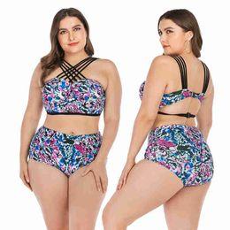 venda por atacado elástico de banho Desconto 2019 Plus Size Floral Bikini Swimwear Tamanho Grande Atacado de Cintura Alta Elastic Mulheres Estilo Americano e Europeu 2 peças Swimwear