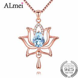 Colgante de iluminación de oro rosa online-Colgante, collar de Sky Light Almei 1.2ct color rosa en oro flor de loto azul del Topaz 925 joyería de plata de ley con la cadena de Caja CN054