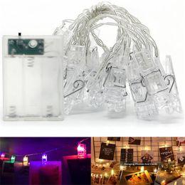 Clip di luce per foto Luci per fata clip a batteria Luci per LED alimentate a batteria 3M / 6M bianco caldo / RGB per interni per feste per feste da