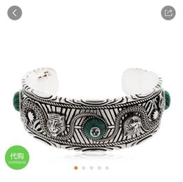 Smaragd armband sterling online-Designer Armband Tiger Head Snake Armband GARDEN Armband Emerald Jewelry Damen Silberschmuck 2019 Luxus Modeaccessoires
