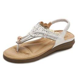 Туфли на высоком каблуке онлайн-Yu Kube Летняя обувь Сандалии для женщин Bohemia Плоские сандалии Mujer 2019 Босоножки с ремешком Chaussures Femme Босоножки с низким каблуком
