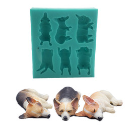 silicone animal cake mould Promo Codes - Diy Silicone Dog Mould Sugar Melting Molds Cake Animal Series Mold Opp Packing High Resistance Green Color 14 5wl J1