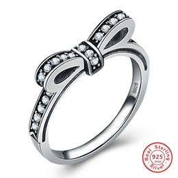anéis de mulheres espumantes Desconto HOT Solid 925 Sterling Silver Espumante Arco Nó Empilhável Anel Micro Pavimentar CZ para As Mulheres Dia Dos Namorados Jóias Presente