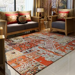 european floor teppiche Rabatt Bohemia Ethnic Style Teppiche Wohnzimmer Schlafzimmer Blending Teppiche Europäischen und amerikanischen Sofa Couchtisch Matte Anti-Rutsch-Boden Teppich