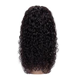 Perruque noire rihanna en Ligne-Pré Plucked Blots Nœuds Couleur Naturelle Perruque Vague D'eau Perruque Brésilienne de Cheveux Humains Avant de Lacet de Perruques Avec Des Cheveux de Bébé Pour Femme Noir