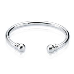 Bracelet manchette simple en Ligne-Nouvelle arrivée 925 Sterling Silver manchette bracelet Torque Plain Bracelet Bracelet Taille Ouvert bracelet bracelets pour les Femmes Livraison Gratuite