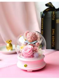 oratori altoparlanti Sconti Luce altoparlante New Rose Little Bear Presrved fresco fiore rosa senza fili Bluetooth Music Box Notte regalo di San Valentino per la ragazza