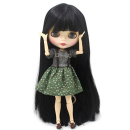 Capelli bianchi bambola online-Gelido Nude Factory Blyth Doll Series No.bl9601 Capelli neri pelle bianca Joint Body Neo J190508