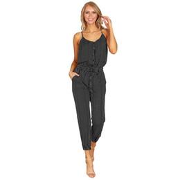 b65fb640345e Romacci Women Plus Size Jumpsuit Striped Buttons Spaghetti Strap Sleeveless  Overalls Elastic Drawstring Casual Summer Romper