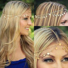 Tocado de plata bohemio online-Oro Plata Moda Bohemio Mujeres Cabeza de Metal Headpieces Cabello Joyería Frente Baile Diadema Pieza Accesorios de boda Corona Hippie