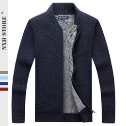 2019 abrigos de lana de cachemira para hombre NXH 2019 Cashmere para hombre suéteres de gran tamaño Smart Cardigan informal Abrigos gruesos 4 colores Forro de lana suéteres abrigos de lana de cachemira para hombre baratos