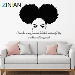 Tribal African Woman Decal Beauty Quote Beautiful Afro Girl Home Decor Living Room Bedroom Confidence Wall Stickers Salon