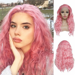 2019 peluca de 18 pulgadas Pelucas delanteras del cordón sintético barato 18inch rosa pelucas onduladas rizadas alta temperatura del partido de Cosplay de la fibra pelucas libres de la parte para la moda mujeres rebajas peluca de 18 pulgadas