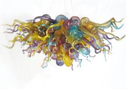 """Iluminación de cristal moderna colorida online-Modern Hand Chandelier Glass Chandelier Lighting Colorful Modern Art Glass Colgante Lighting 28 """"x20"""" estilo turco decoración de arte lámparas caseras"""