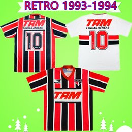 jersey de brasil negro Rebajas En casa y fuera en stock 1993 1994 Sao Paulo retro camisetas de fútbol Negro Rojo Blanco Camisa 93 94 clásicos de época Brasil Fútbol