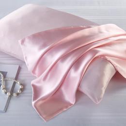 Almohadas saludables online-2 UNIDS 22 Momme Funda de almohada de seda 100% Naturaleza Funda de almohada de seda de morera con cremallera oculta Suave y saludable Funda de almohada de satén