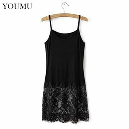 lace undershirts Promo Codes - Women Ladies Sexy Camisole Lace Top Casual Undershirt Extender Long Tank Vest Cotton Black White M-4XL Vintage New 904-730