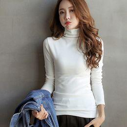 Футболка с длинными рукавами онлайн-Women Spring Long Sleeve T-Shirt Slim Casual Turtleneck Solid Female Tees Tops Ladies Solid Tee Tops Female Elastic T-shirts