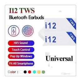 2019 I12 TWS V5.0 Wireless Headphones Bluetooth Ture auricolari stereo colorato Touch Control Wireless Headset Earbuds da
