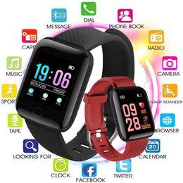 2019 chamadas de resposta de pulseira ID 116 PLUs relógio inteligente Pulseiras de Fitness Rastreador laço falso Heart Rate esporte etapa Contador Activity Monitor Banda pulseira para telefones inteligentes