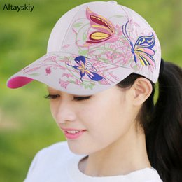 ada096168f1 Baseball Caps New Women Embroidery Adjustable Outdoor Sun Shading Womens  Cap Casual All-match Trendy Korean Style Chic Colorful