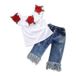 Canada Mode Style Bébé Fille Vêtements Fleurs Brodées Tops + jeans Taille élastique Glands Pantalon 2pcs Toddler Girls Summer Clothing Offre