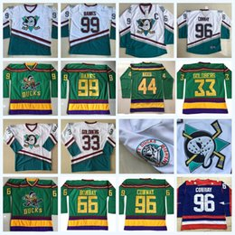 Maillot goldberg en Ligne-96 Charlie Conway Les Mighty Ducks Moive Hockey Jersey Adam Banks Gordon Bombay Greg Goldberg Reed Dean Portman Tous Cousu EN STOCK
