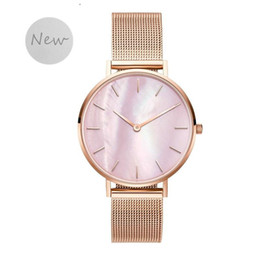 pink shell bracelet Promo Codes - SANSHOOR 3 Colors Stainless Steel Mesh Keeper Watch Armband Bracelet Quartz Movement With Pink Shell As Gifts For Women