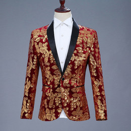 a7109f2a MSSNNG Men Shawl Lapel Blazer Designs Plus Size 5XL Black Velvet Gold  Flowers Sequins Suit Jacket DJ Club Stage Singer Clothes