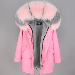 2019 pele aparada casaco parka Rosa fox guarnição da pele resistente ao Frio Maomaokong mulheres da marca casacos cinza forro de pele de coelho rosa longo parkas Noruega Finlândia pele aparada casaco parka barato