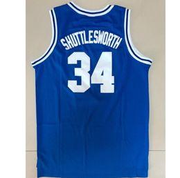 Athletische basketball-trikots online-Der ärmellose Basketball der weißen blauen Männer trägt JERSEY gedrucktes LINCOLN # 34 SHUTTLESWORTH Jerseys Athletic Outdoor Apparel T-Shirt A3