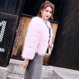Coleira pele rosa on-line-Moda Faux Fur Gilet Colete Pel 2017 Novo Inverno Rosa Faux Fur Coat Colete Plus Size 2XL Peludo Fino Casaco FT412