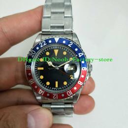 хрустальная окантовка Скидка BP Factory Best Edition R-GMT Ref 1675 2813 Механизм Vintage Урожай Автоматическое движение Сапфировое стекло Классическая застежка красно-синяя рамка Мужские часы